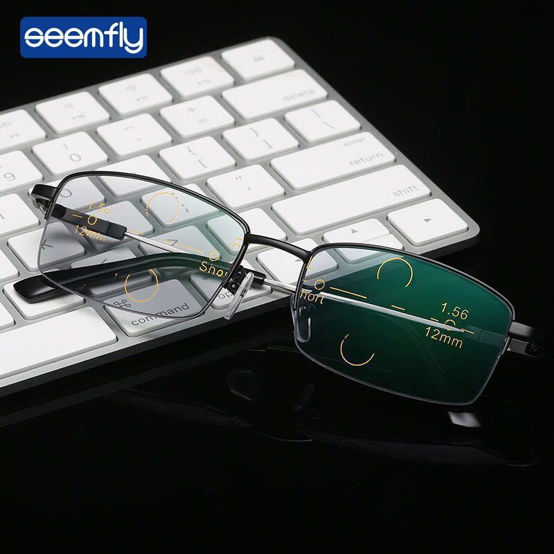 Seemfly Dual-Use Reading Glasses Men Prevent Blue Light Radiation  Multi-Focal Intelligent Zoom Antifatigue Computer Glasses