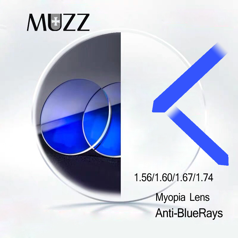 1.56/1.60/1.67/1.74 Index Anti Blue Optical Prescription Lens Aspheric Myopia Lens Super-Tough Anti Blue Light Lenses Anti-Radiation 2PCS
