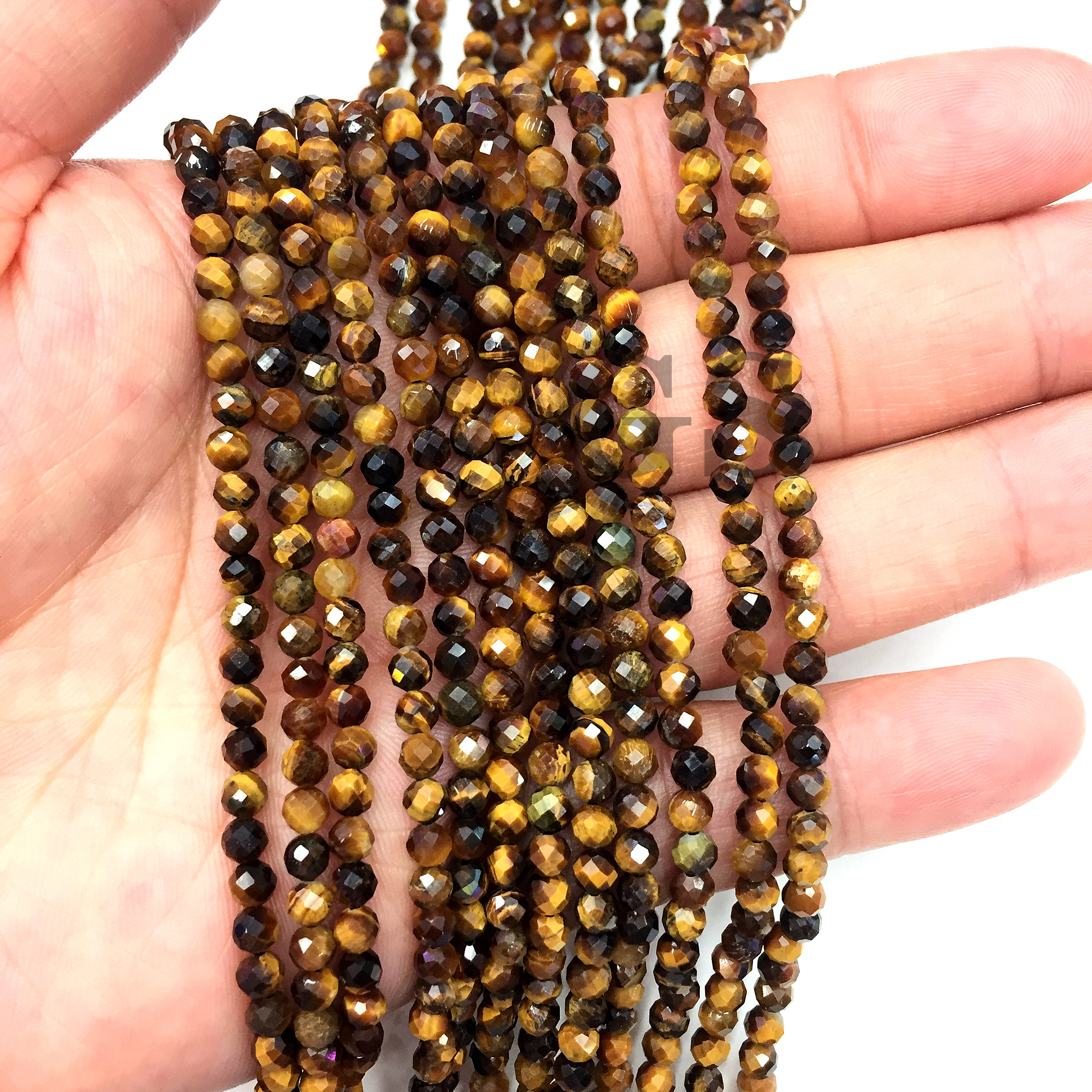 16 inch long Brown tan tiger/'s eye tiger-eye round and gold Beads bead beaded Necklace jewelry V311-5