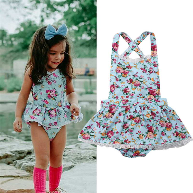 Boho Summer Infant Baby Girl Floral Bodysuit Sleeveless Strap Ruffle Lace Tutu Sunsuit Baby Girl Backless Cotton Playsuits 0-24M