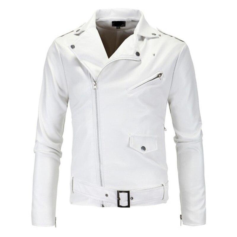 ¡Oferta! chaqueta de cuero ajustada locomotora para hombre, con cuello alto, con cremallera oblicua y cremallera blanca, chaqueta de cuero Py12