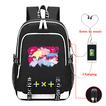 Kpop Women Backpack Female Male Schoolbag for Teenage Girls Boys Travel Backpack TXT Korean Casual Usb Charging Bag Mochilas sally face shoulder school bags for teenage girls schoolbag usb charging women bookbag backpack bag travel backpacks mochilas