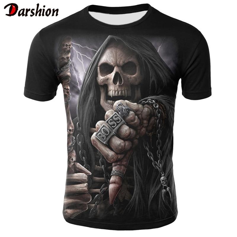 New Brand Mens Skull T Shirts Punk Style Finger Skull 3D Tshirts Men Tops Hip Hop Funny Tees Tops 3D Printed Summer Clothes 4XL