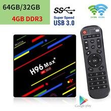 جهاز H96 MAX Plus للتلفزيون الذكي, يأتي بنظام تشغيل أندرويد 9.0 ، RK3328 ، وذاكرة 4 جيجا ، وذاكرة داخلية 64 جيجا ، ومشغل وسائط ليوتيوب 2.4G/5G ، وواي فاي ، وusb 3.0 ، ومشغل وسائط 4k