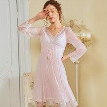 Wasteheart Women Fashion Pink White Sexy Sleepwear Nightdress Lace Nightwear Sleepshirts Luxury Nightgown Court Homewear Mesh