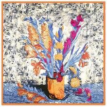 Ван Гог Картина маслом Дизайн Зимний шарф роскошный бренд саржевый Шелковый квадратный шарф женский платок шаль шарфы для женщин