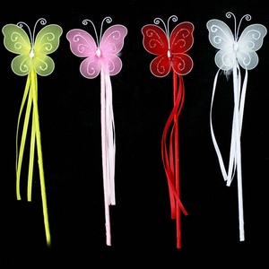 Butterfly Wand Magic Fairy Princess Wand Birthday Party Fancy Dress White Red Yellow Pink(China)