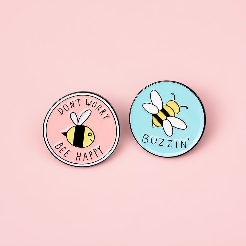 Bee Enamel Pin Custom homophonic Be Kind Save Bee Brooches Bag Clothes Lapel Pin Pink Blue Round Badge Honey Bee Jewelry Gift 6
