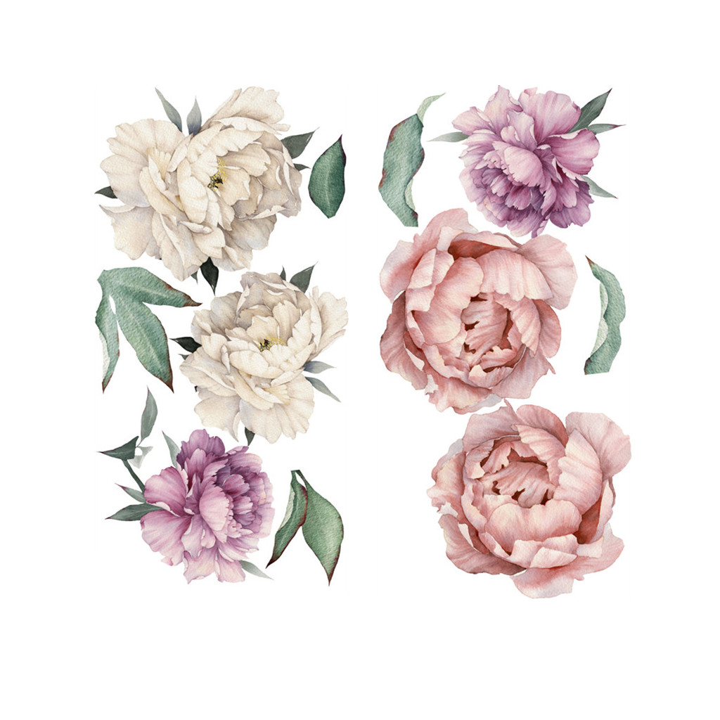 PVC Sticker Decal Mural Wall-Decoration Peony Flower-Pattern Self-Adhesive Home-Decor title=