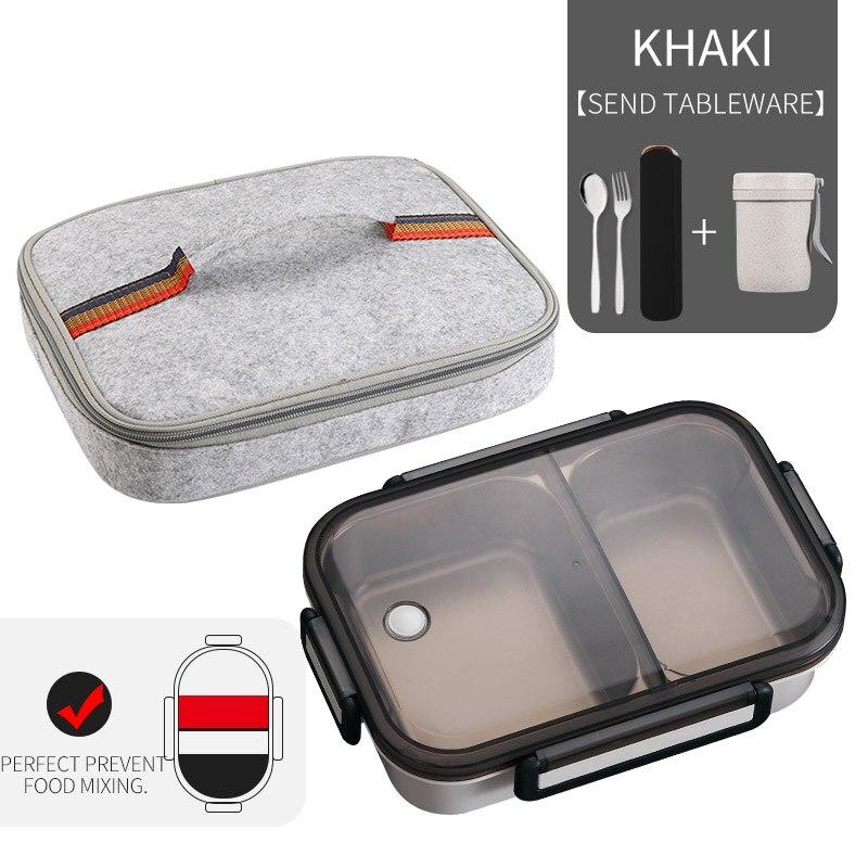 WORTHBUY японский Ланч-бокс для детей школы 304 из нержавеющей стали бенто Ланч-бокс герметичный контейнер для еды детская коробка для еды - Цвет: A Khaki Bag Cup Set