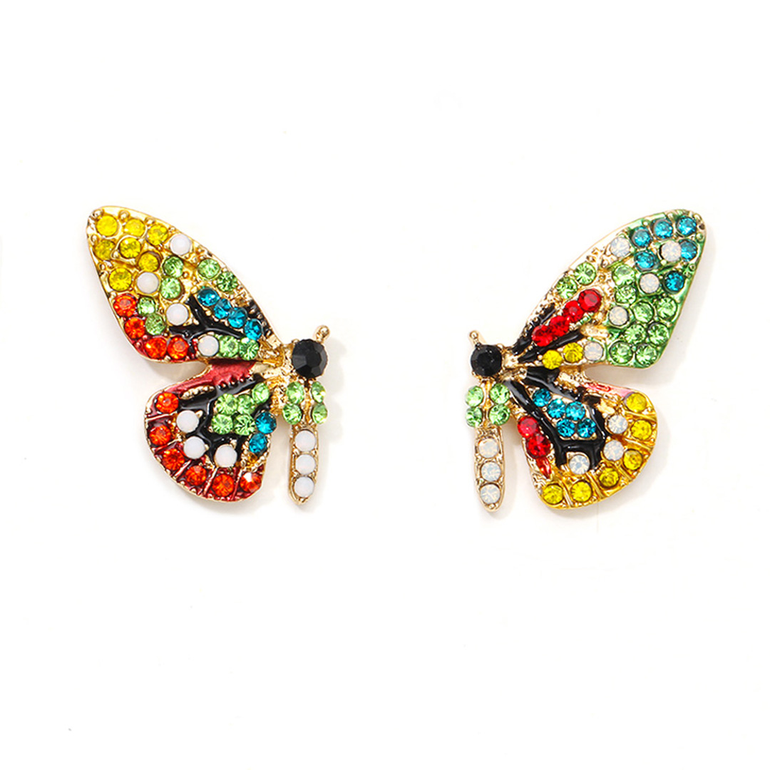 Fashion Colorful Crystal Rhinestone Butterfly Wedding Earrings For Women Bride Shellhard Statement New Design