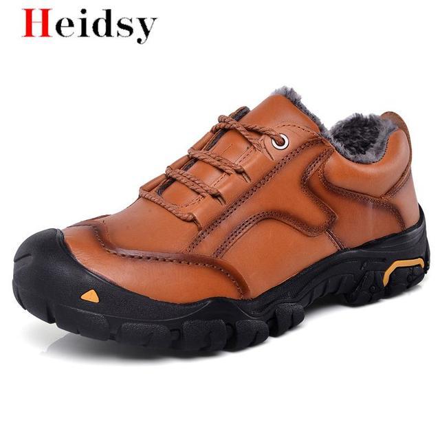 Buty męskie zimowe 100 prawdziwej skóry buty ocieplane buty męskie wodoodporne gumowe pluszowe śniegowce dla człowieka buty do kostki duży rozmiar 50 tanie tanio heidsy Buty śniegu Skóra bydlęca Lace-up Stałe Pasuje prawda na wymiar weź swój normalny rozmiar Okrągły nosek
