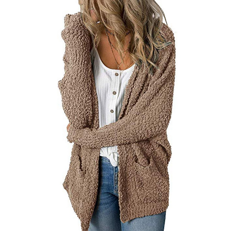 Puimentiua Plush Sweater Coat Women Loose Cardigan Double Pockets Jumpers Coat Female Long Solid Knitted Winter Clothes Women
