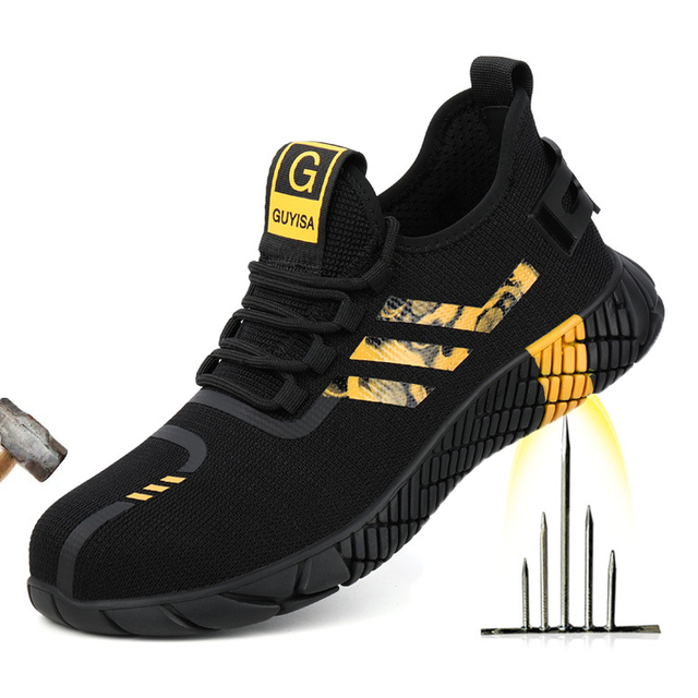 2020 New Breathable Men Safety Shoes Steel Toe  Non-Slip Work Boots Indestructible Shoes Puncture-Proof Work Sneakers Men 1