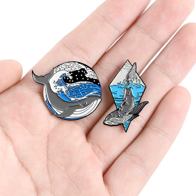 Ikan Paus dan Ombak Laut Bros Biru Laut Hewan Lembut Enamel Pin Lencana untuk Wanita Pria Lapel Pin Grosir Ikon Kartun hadiah