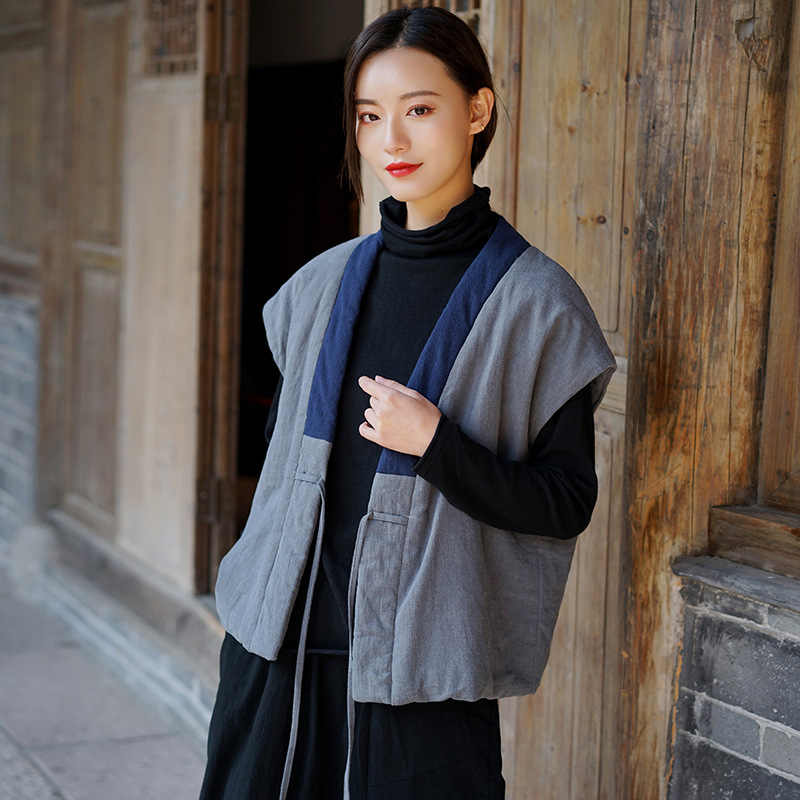 Johnature femmes hiver 2020 nouveau coton et lin Vintage gilets Style chinois chaud tissus femmes Cardigan ceinture gilets manteaux