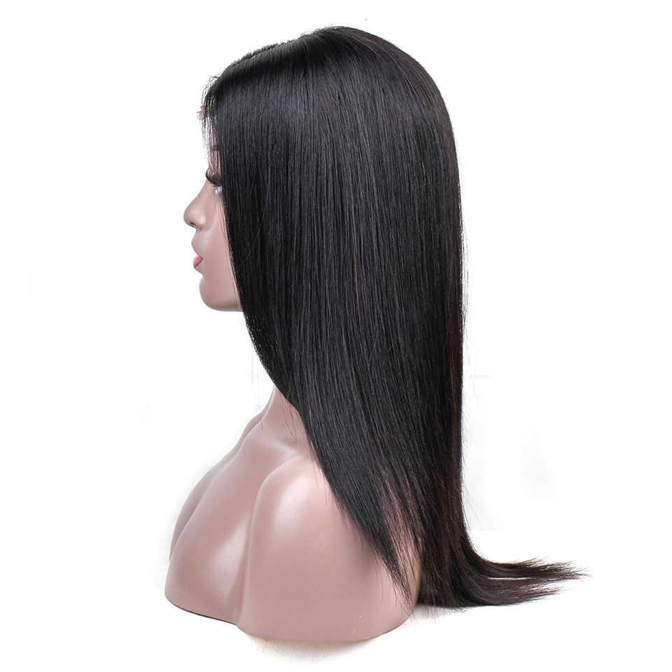 Brezilyalı Düz Saç 2*6 Dantel Bölüm İnsan Saç Dantel Peruk Ön Koparıp Doğal Saç Çizgisi Remy Dantel Peruk siyah Kadınlar HairUGo