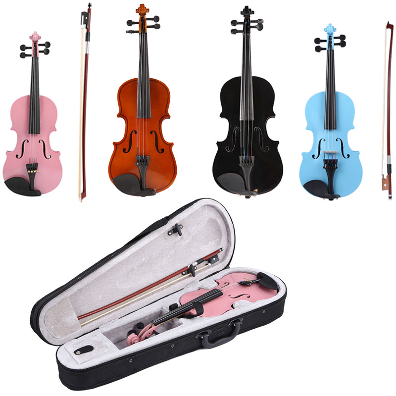 Handmade 1/8 Size Acoustic Violin Gloss 4 Color Fiddle with Case Bow Rosin Musical Instrument For Beginner Music Lover Gift image