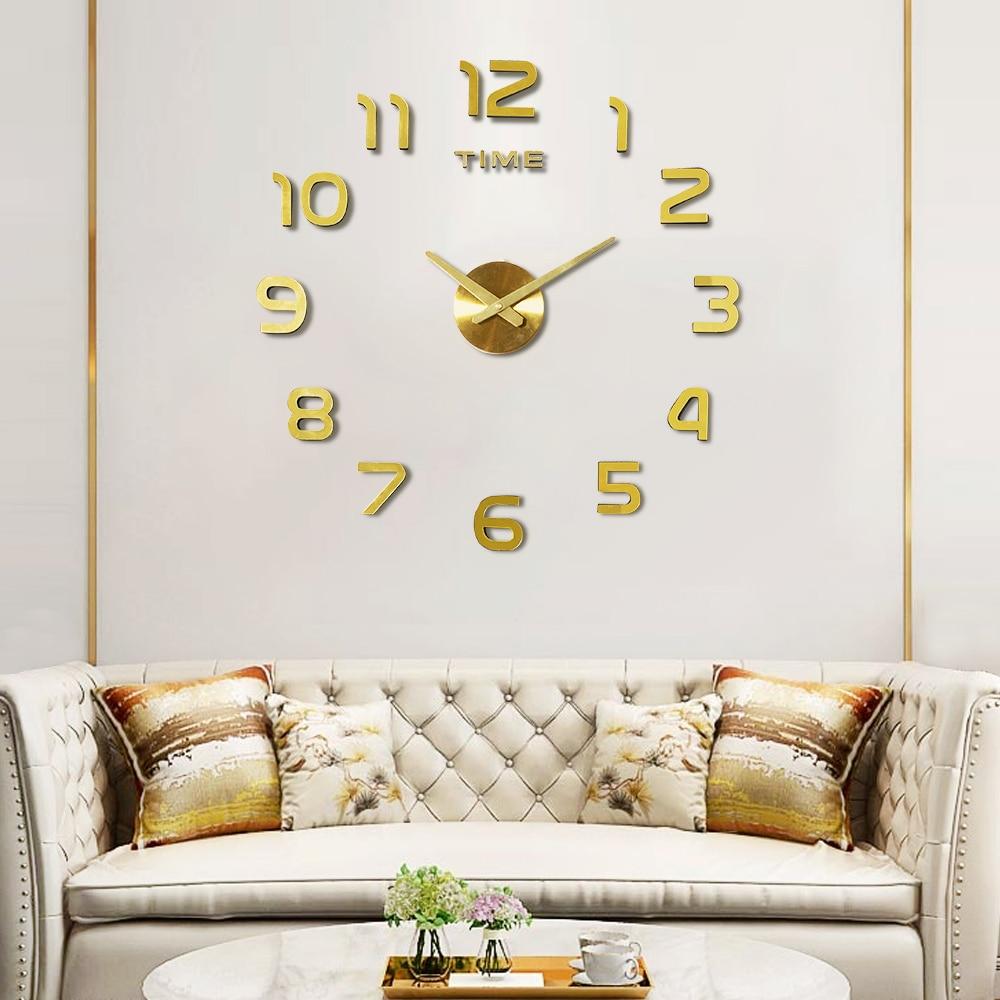 3D Acrylic Clock Mirror Sticker Watch Wall DIY Creative Clock Home Decoration Quartz Clock