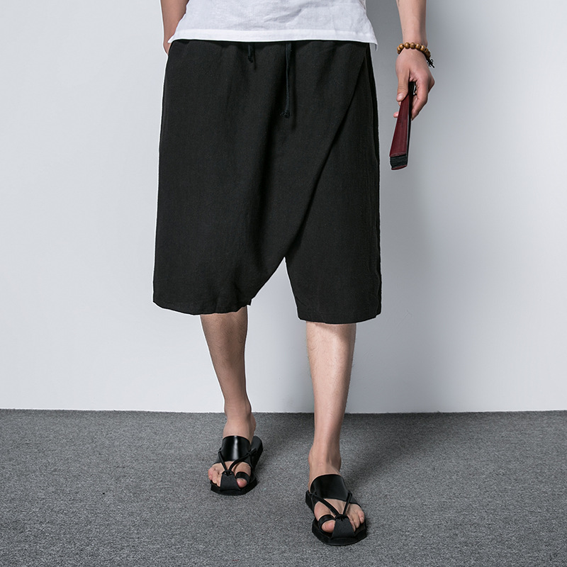 Summer Loose-Fit Cotton Linen Capri Pants MEN'S Trousers Thin Chinese-style Large Trunks Fat Large Size Flax 7 Points Shorts
