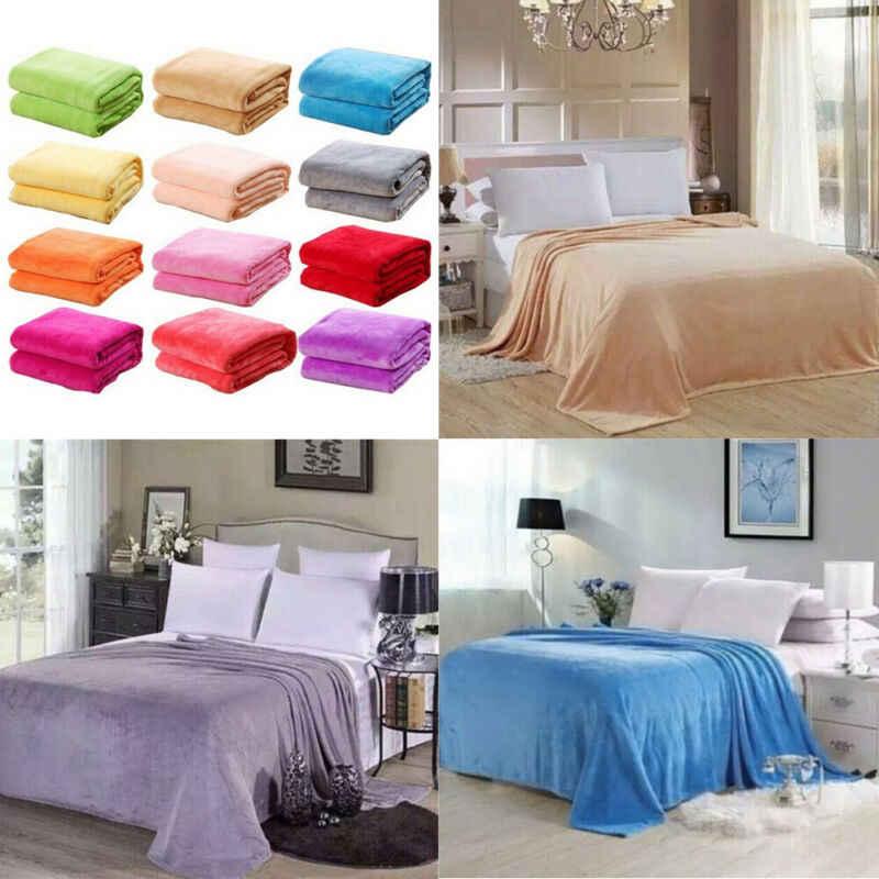 Kleine Super Warm Solide Warm Micro Plüsch Fleece Decke Werfen Teppich Sofa Bettwäsche
