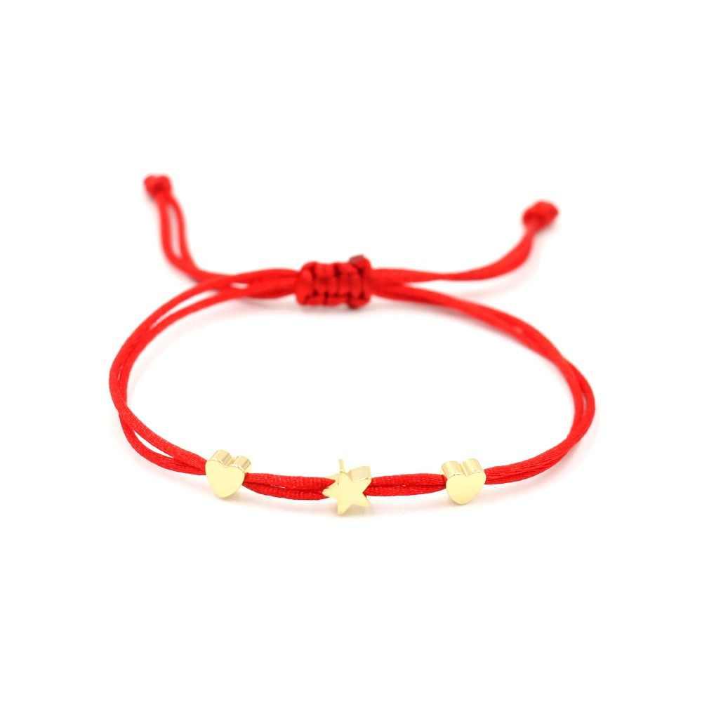 女性赤糸ストリングミックスハートスターチャーム恋人編組アジャスタブルブレスレット少女のハンドメイド Diy のジュエリー