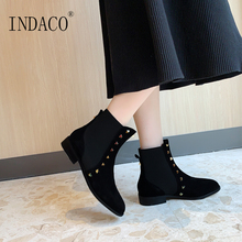 Black Ankle Boots for Women Fashion Chelsea Womens Leather 2.5cm