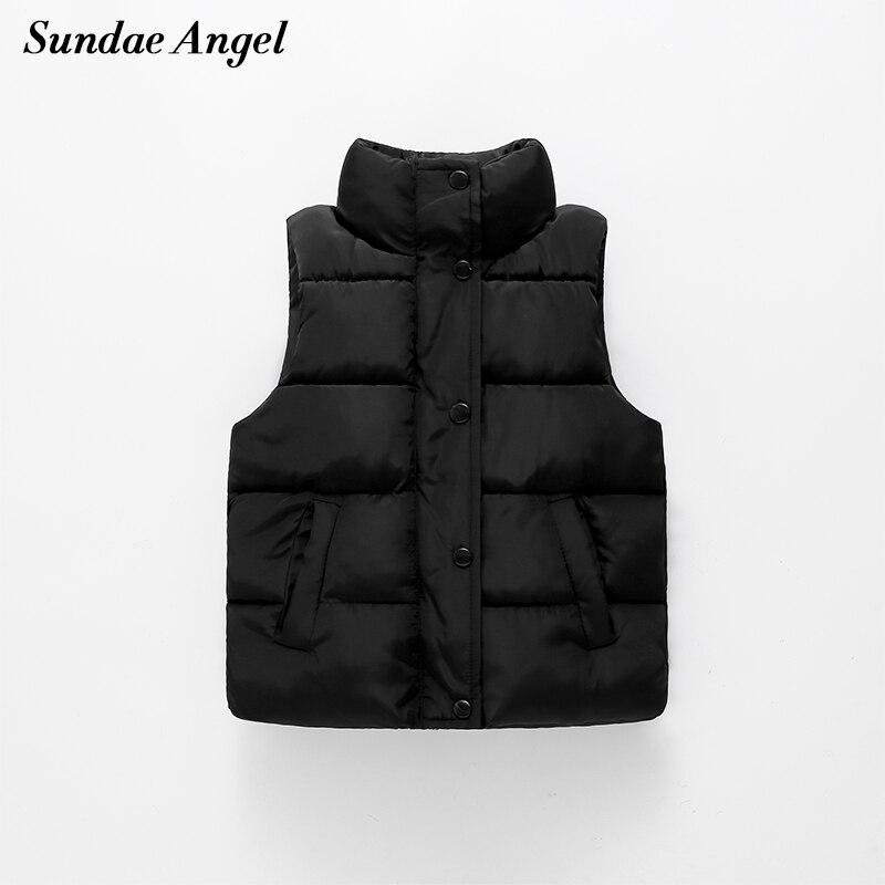 Sundae Angel Vest Child Boys Solid Stand Collar Single breasted Thicken Girl Weste Winter Waistcoat Kids Padded Vest Children 1