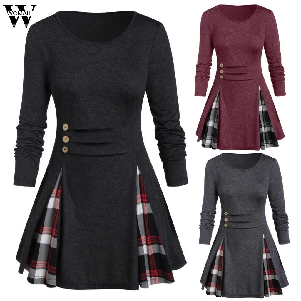 Womail Shirt Women Autumn Winter Long Sleeve Tartan Tunic Pullover Tops Irregular Plaid Print Pullover Blusas Feminina Plus Size