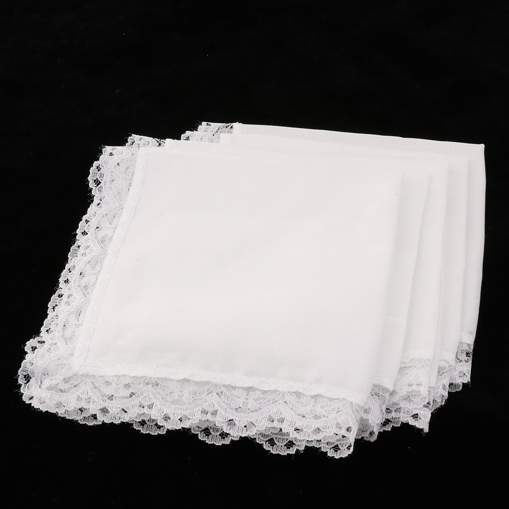 20 Pieces Blank White Cotton Hankies Pocket Squares For Women Wedding Bridal Handkerchief Crochet Lace Brim