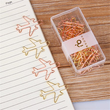 Airplane Shaped 12pcs Paper Clips Gold Bookmark Clips, Cute Paperclips Planner Clips for Office School Supplies Decoration