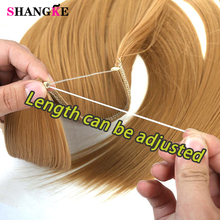купить SHANGKE Long Curly Synthetic Hair 24inch Heat Resistant Hairpiece Fish Line Hair Extensions Brown Blonde Cosplay Extension по цене 194.09 рублей