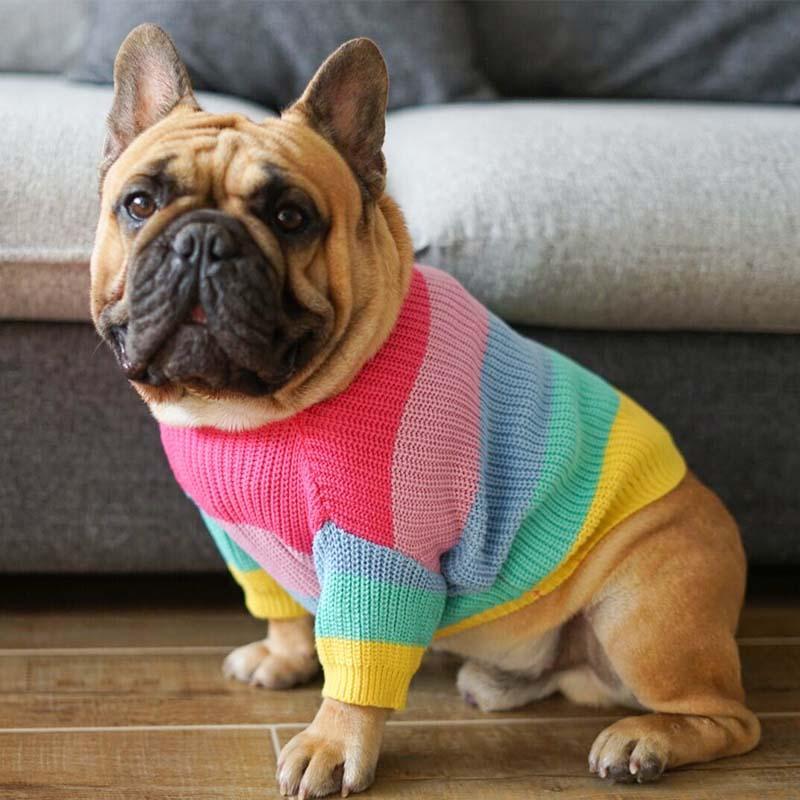 Rainbow Dog Clothes Winter Pet Sweater Fat Costume