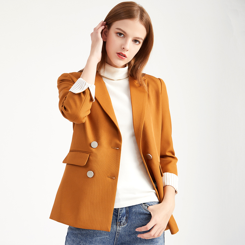 2020 women's spring and autumn jacket suit women loose casual small suit High quality double breasted blazer