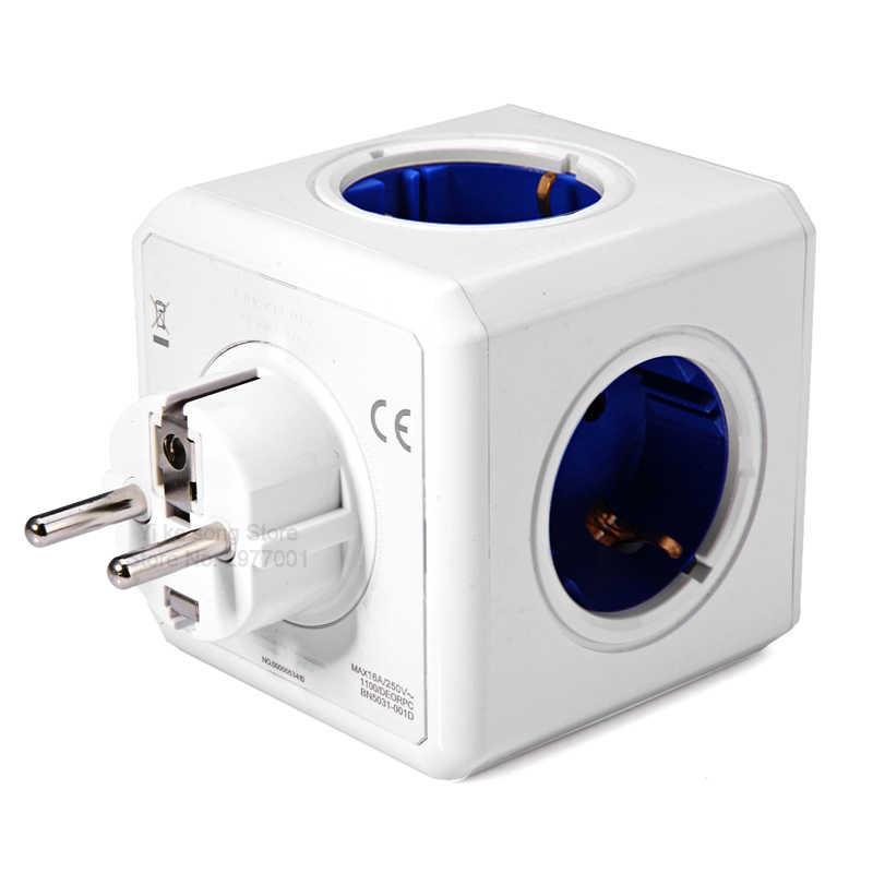 Allocacoc ue wtyczka zasilania strip powercube 5 gniazdo przedłużające gniazdo inteligentny adapter Multi Switched stacja do ładowania 16A 3680W niebieski