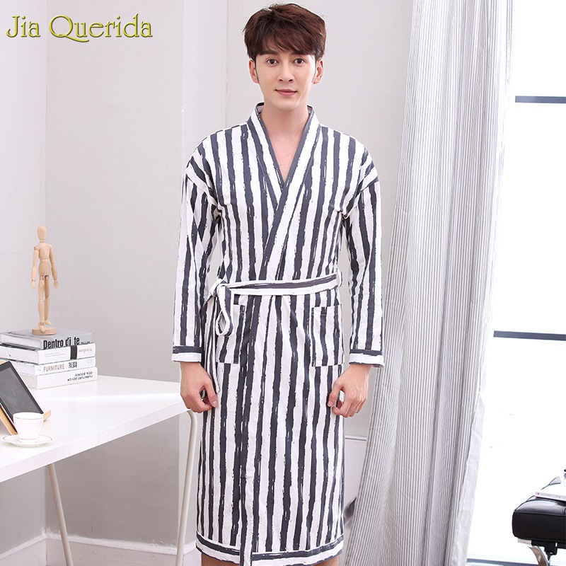 Loungewear Robes Man Striped Print 100% Cotton Belt Cardigan Autumn Spring Pocket Long Sleeve Leisure Elegant Bathrobe Nightwear