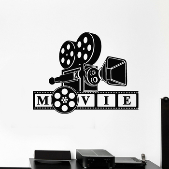 Vinyl Wall Decal Cinematography Camera Movie Lover Filming Room Wall Stickers Home cinema Decor Design Removable Wallpaper B391 image