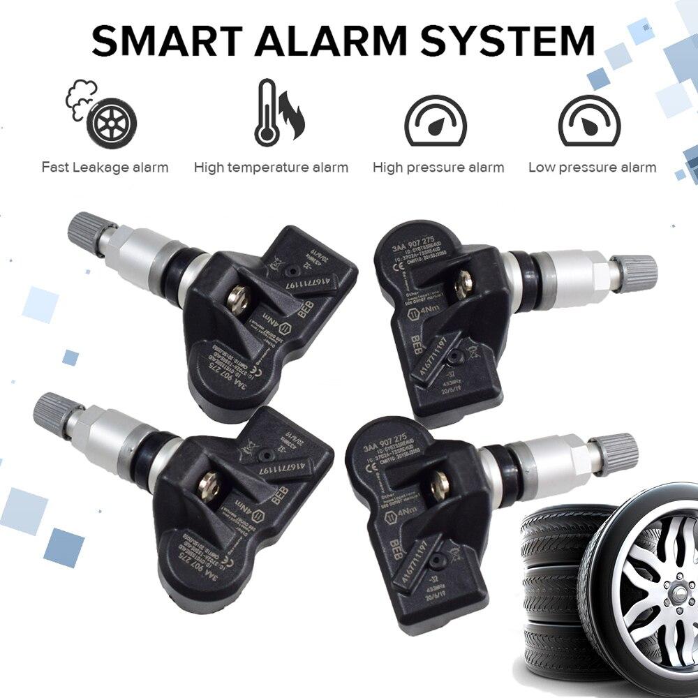 4Pcs Tire Pressure Monitoring System (TPMS) Sensor 3AA907275 3AA907275B 3AA907275F RDE013 433Mhz For Volkswagen Tiguan CC