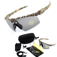 Camouflage Tactical Army Safety Goggles Windproof Glasses Outdoor Sport Polarized UV400 Protection Sunglasses 3 Lens