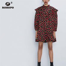ROHOPO Butterfly Round Collar Puff Sleeve Ruffled Red Floral Mini Black Dress Elegant Straight Chic Printed Vestido # 9598