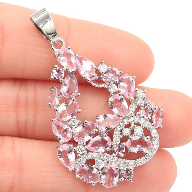43x27mm charming longo grande rosa kunzite cz mulher presente brincos de prata