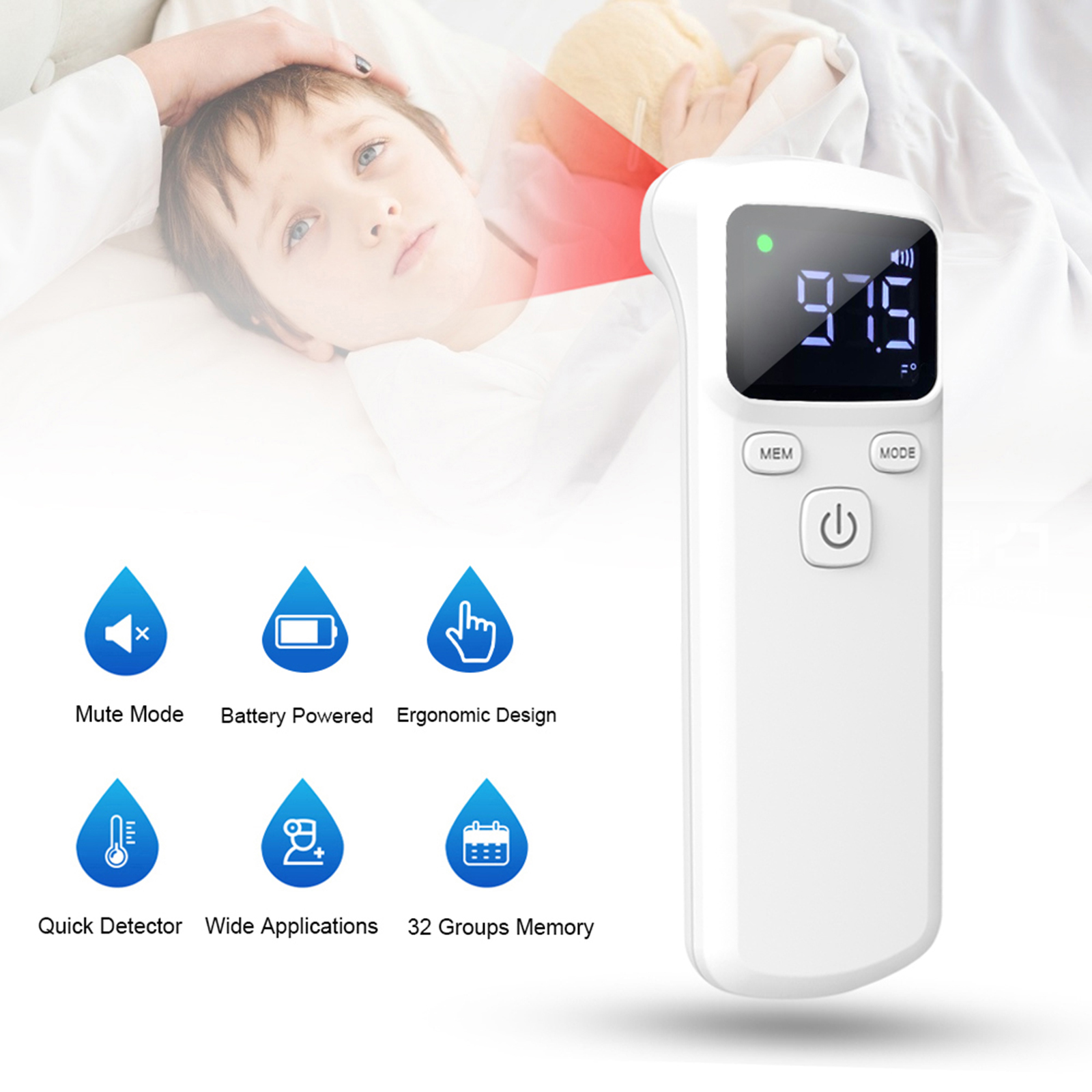 Non-contacting IR Infrared Sensor Forehead Body Thermometer Temperature Measurement LCD Digital Display for Baby Kids Adults