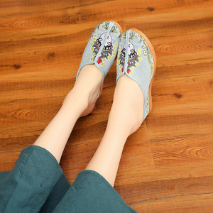 Image 5 - Veowalk Daomadanปักผู้หญิงผ้าใบWedgeรองเท้าแตะฤดูร้อนสไตล์สุภาพสตรีComfortสไลด์แพลทฟอร์มMulesรองเท้า