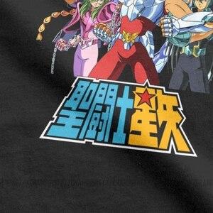 Image 4 - Männer der Saint Seiya T Shirts Ritter von die Sternzeichen Saint Seiya 90s Anime Reine Baumwolle Kurzarm T shirt Sommer T Shirt