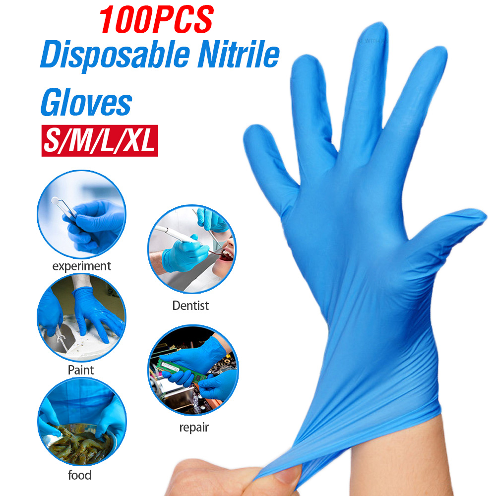 100pcs XL Size Disposable Latex Gloves Safety Universal Nitrile Gloves Kitchen/Dishwashing/Work/Rubber/Garden/Food/Lab Gloves