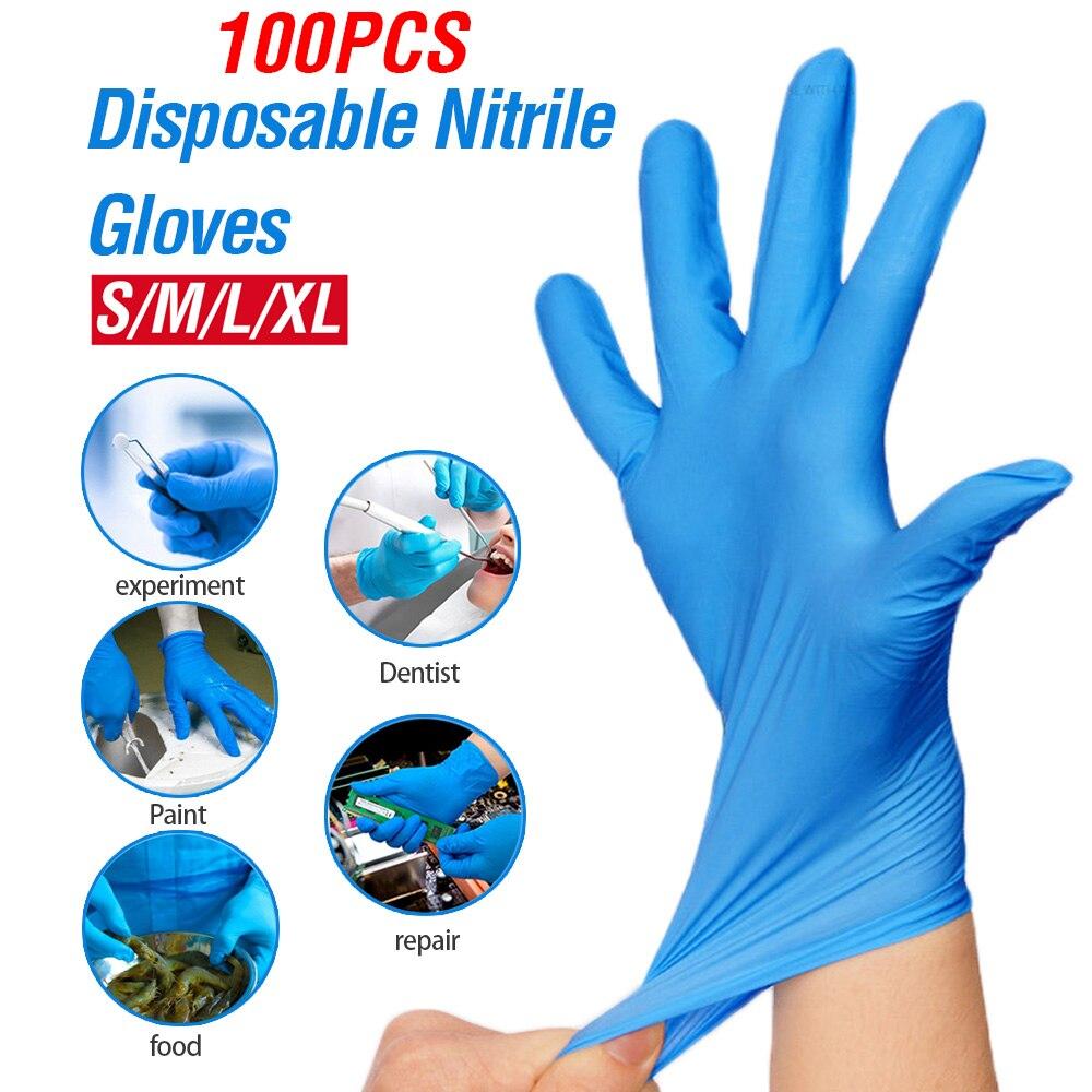 100pcs XL Size Disposable Latex Gloves Safety Universal Nitrile Gloves Kitchen/Dishwashing/Work/Rubber/Garden/Food/Lab Gloves