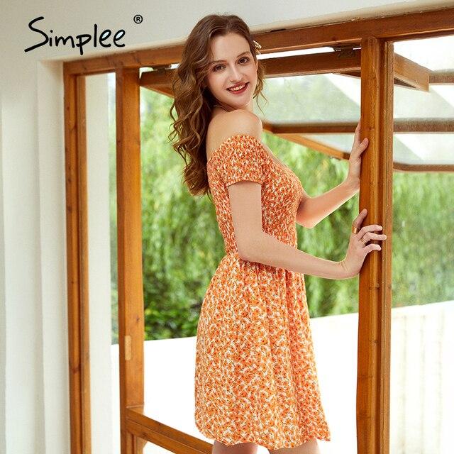 Simplee 우아한 오프 어깨 여성 미니 드레스 Boho 꽃 인쇄 여성 라인 드레스 봄 여름 휴가 해변 숙녀 드레스