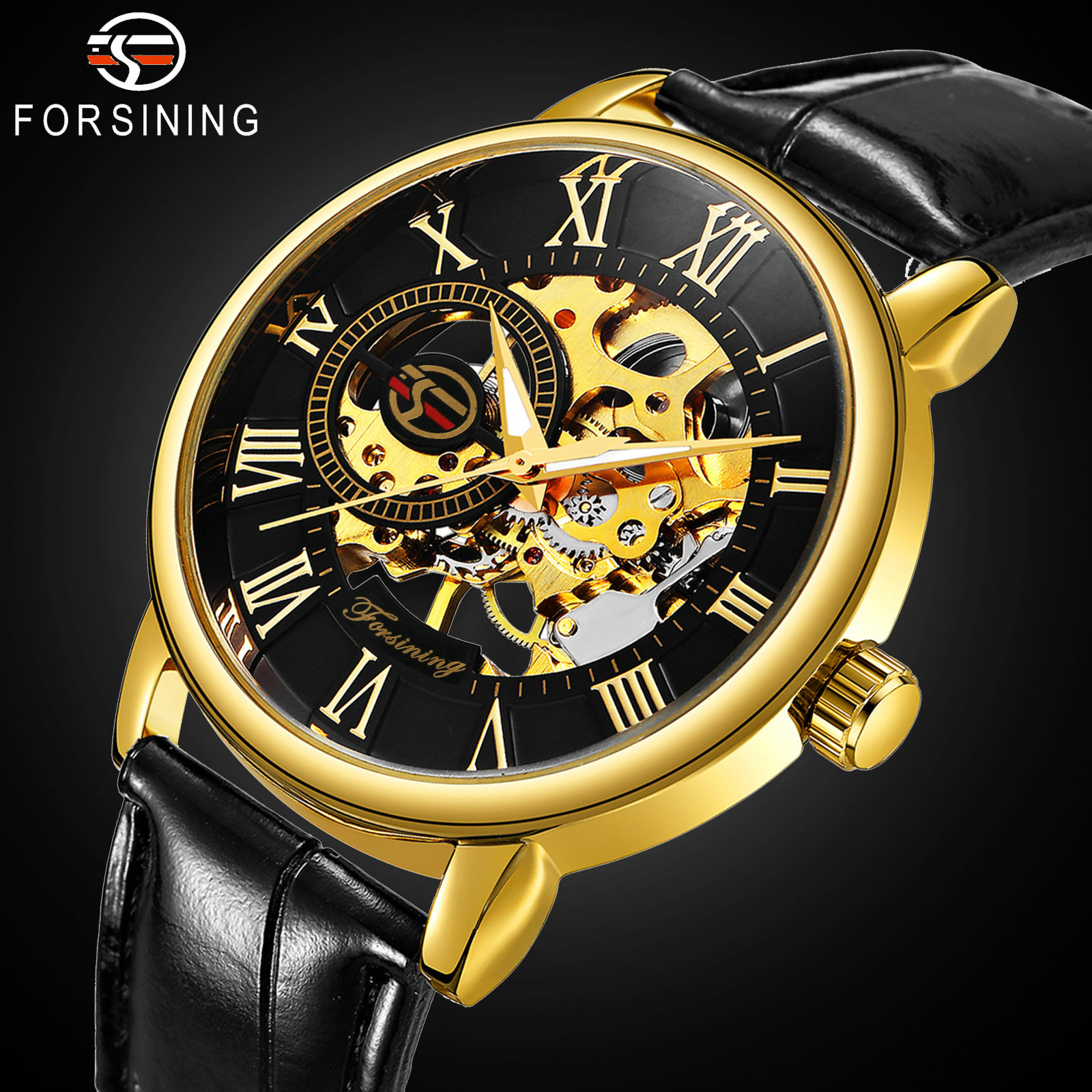 2019 FORSINING 3D Logo Black Gold Men Mechanical Watch Montre Homme Man Watches Top Brand Luxury Leather WINNER Skeleton Design