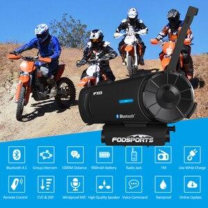 Image 3 - Fodsports FX8 interkom w kasku motocyklowym bezprzewodowy zestaw słuchawkowy bluetooth Radio FM wodoodporna grupa intercomunicador 1000m