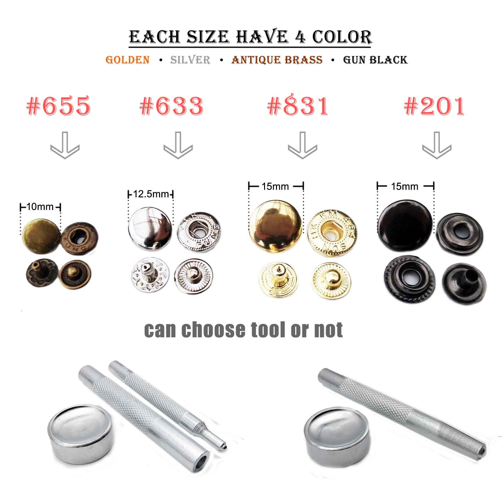 14mm Black LOVIVER 50 Sets Meatl Sew On Snap Fasteners Poppers Press